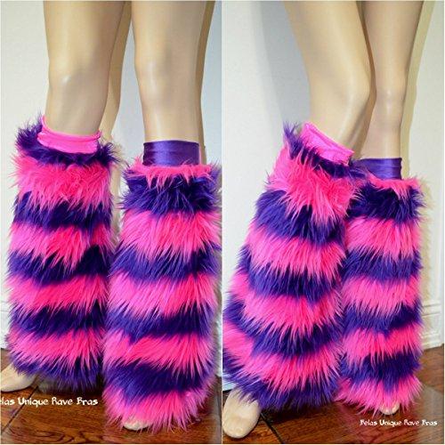 Alice in Wonderland Cheshire Cat Fur Rave leg warmers Costume