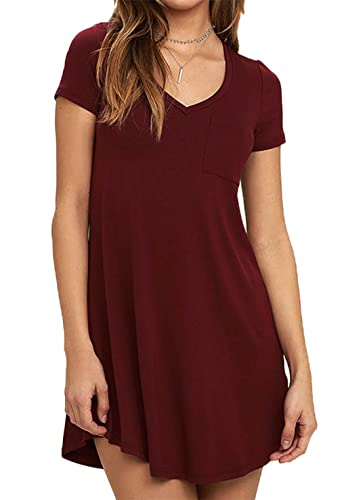 DREAGAL Women's Short Sleeve Casual Loose T-Shirt Dress With Chest Pocket