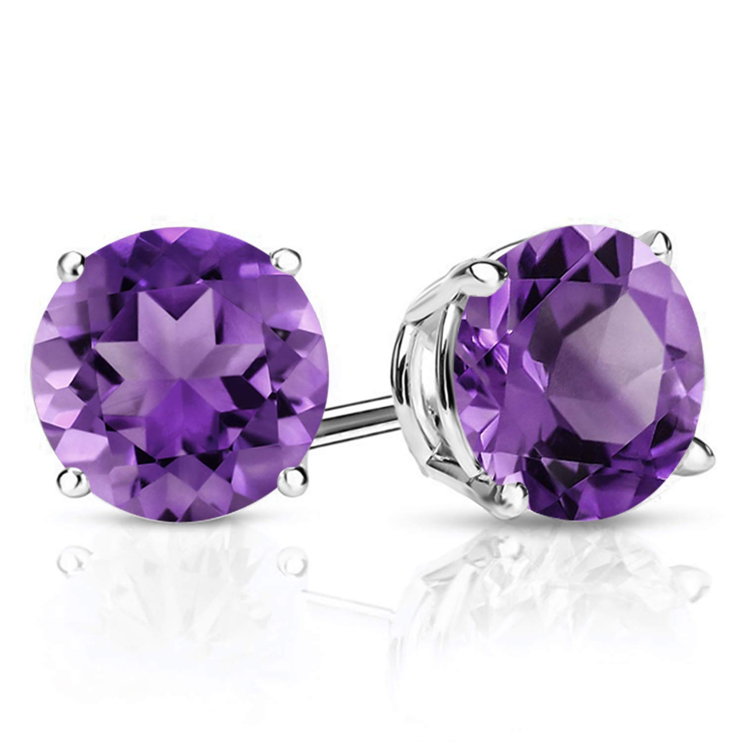 Gem Stone King 925 Sterling Silver Purple Amethyst Gemstone Birthstone Stud Earrings, 2.60 Ctw Round 7MM by Gem Stone King