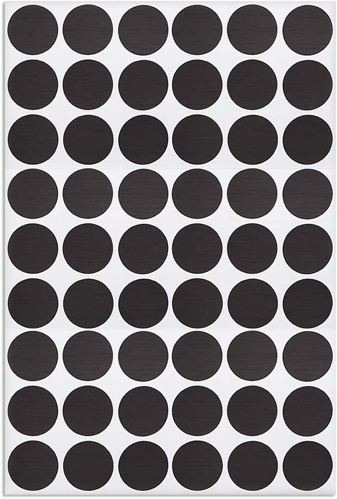 uxcell Screw Hole Covers Stickers Textured Plastic Self Adhesive Stickers for Wood Furniture Cabinet Shelve Plate 21mm Dia 54pcs in 1Sheet Black Lines, PC-192