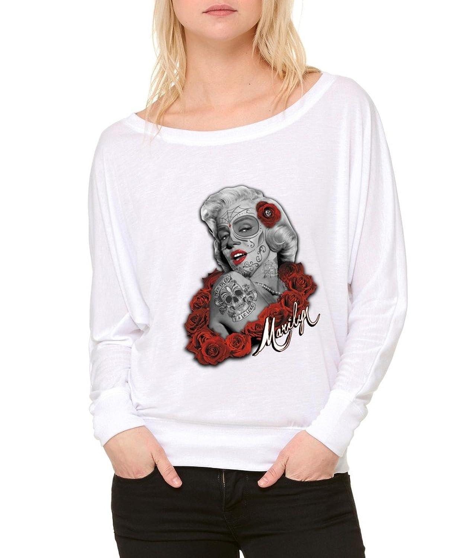 Marily Monroe Rose Star Long-Sleeve Hollywood Star Flowy Shirt