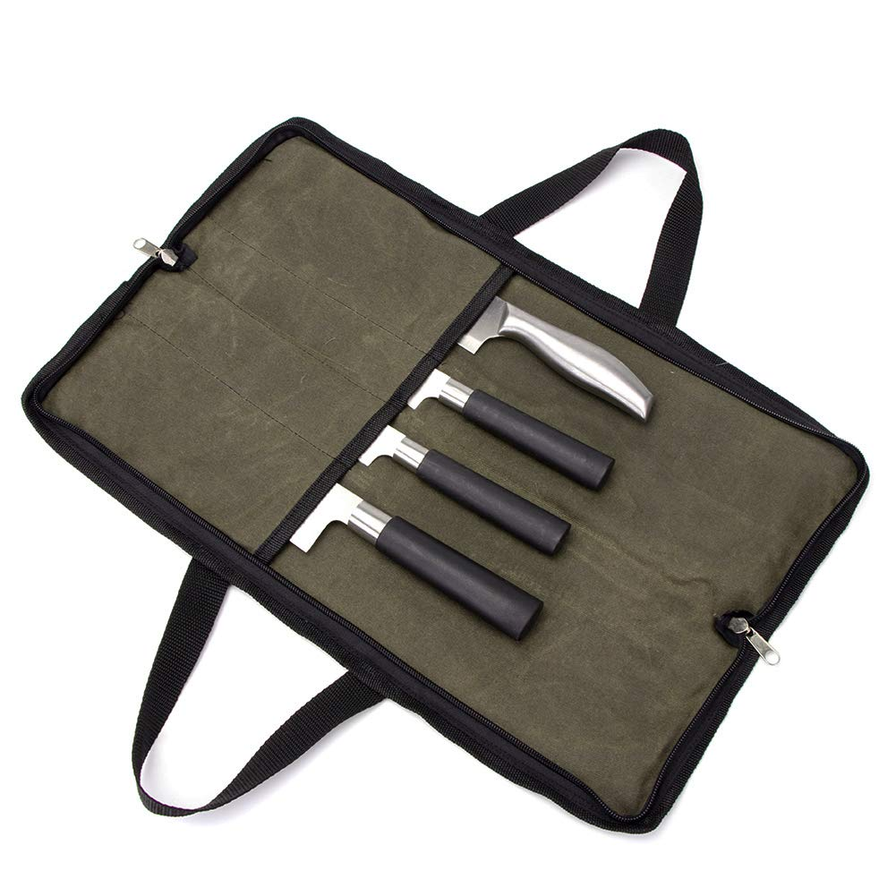 QEES Pro Chef's Knife Roll(4 Slots), Heavy Duty Waxed Canvas Knife Bag with Durable Handles, Portable Knife Carrier Case for Men & Women, Perfect for Travelling, Working, Barbequing, Camping by QEES