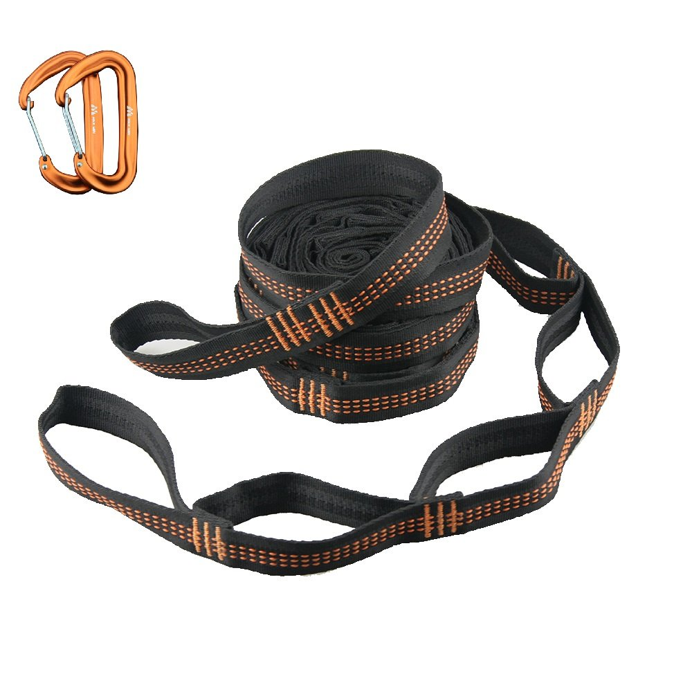 Max Win Hammock Tree Straps – Combined 20Ft long &32 Loops with 12KN Aluminum Carabiners (Set of 4) Suitable for Camping Hammocks and Other Hanging Usage