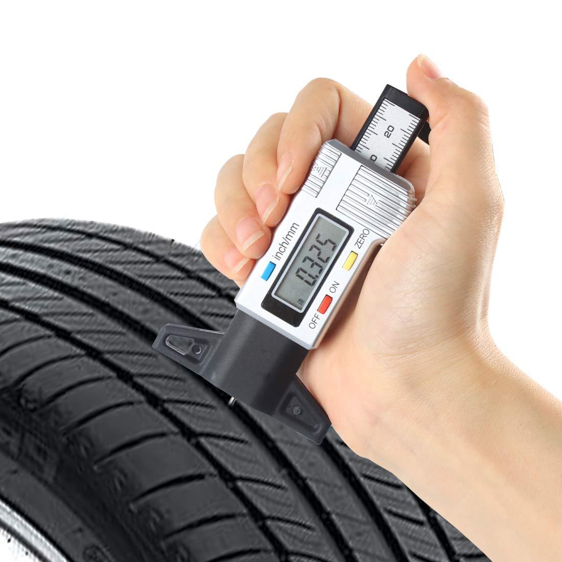 Andux Zone Digital Tire Tread Depth Checker Tire Tester Gauge Measurer for Cars LTC-01 Silver
