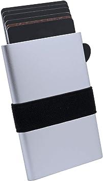 Tarjetero Caja de Metalico - RFID Bloqueo Tarjeteros para Tarjetas de Credito Hombre o Mujer hasta 8 Tarjetas,Plata: Amazon.es: Equipaje