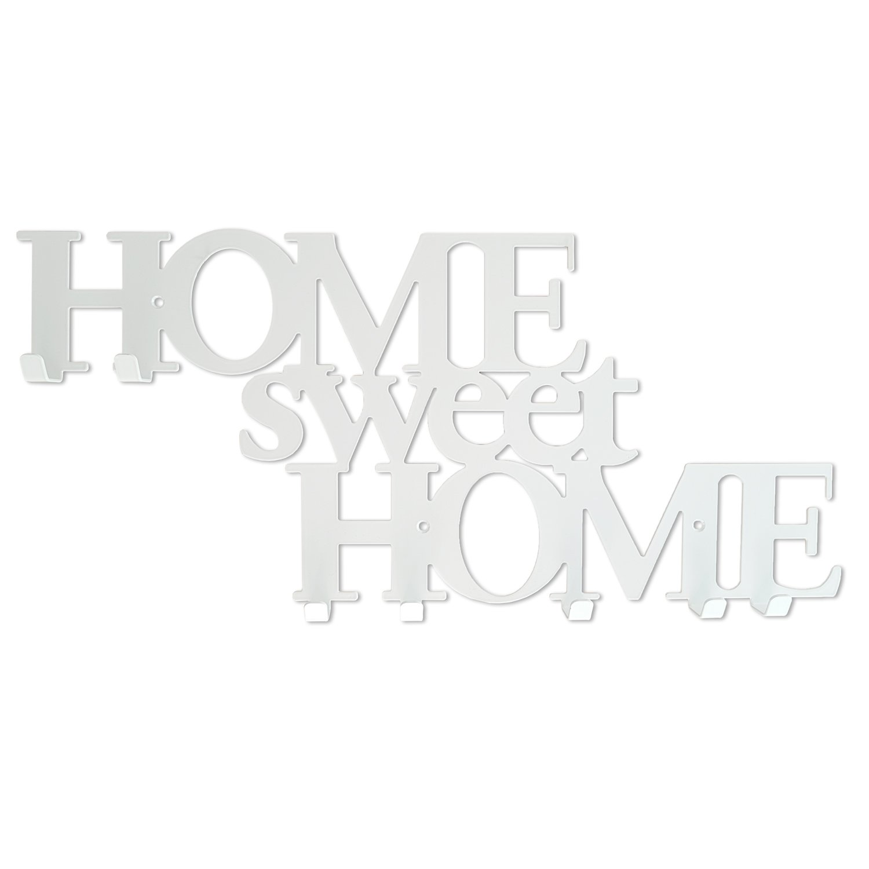 Perchero de Pared con 7 Ganchos Home Sweet Home Blanco