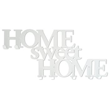 Perchero de Pared con 7 Ganchos Home Sweet Home Blanco