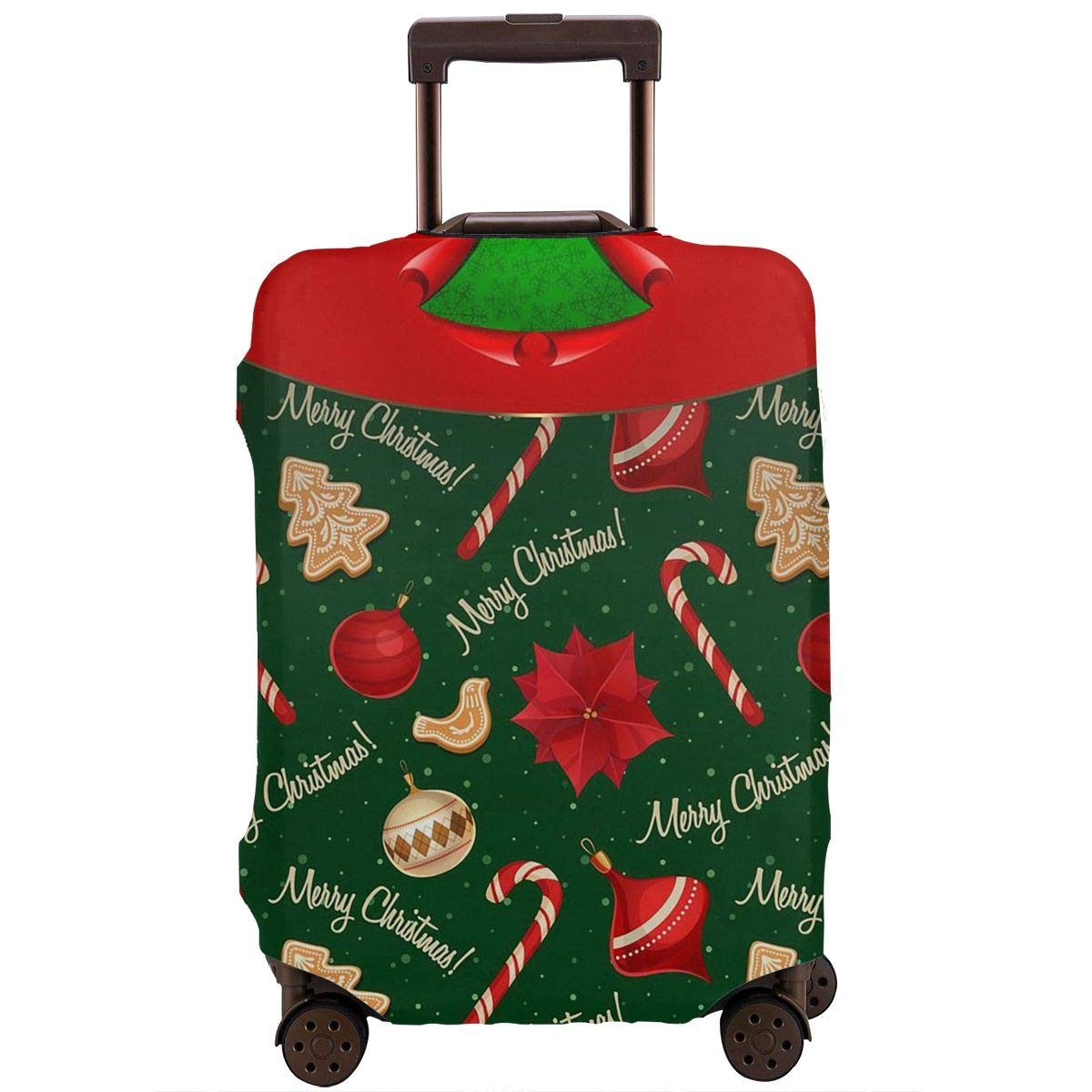 Tlkkkd_N Merry Christmas Travel Luggage Cover Anti-Scratch Baggage Suitcase Protector Cover Fits 18-32 Inch