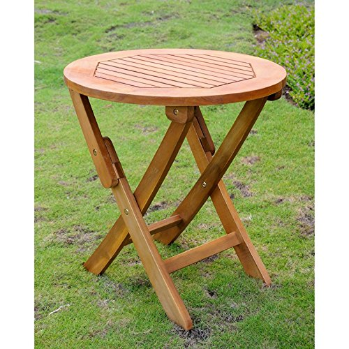 International Caravan TT-RT-014-STN-IC Furniture Piece Acacia Round Folding Table (Acacia Furniture)