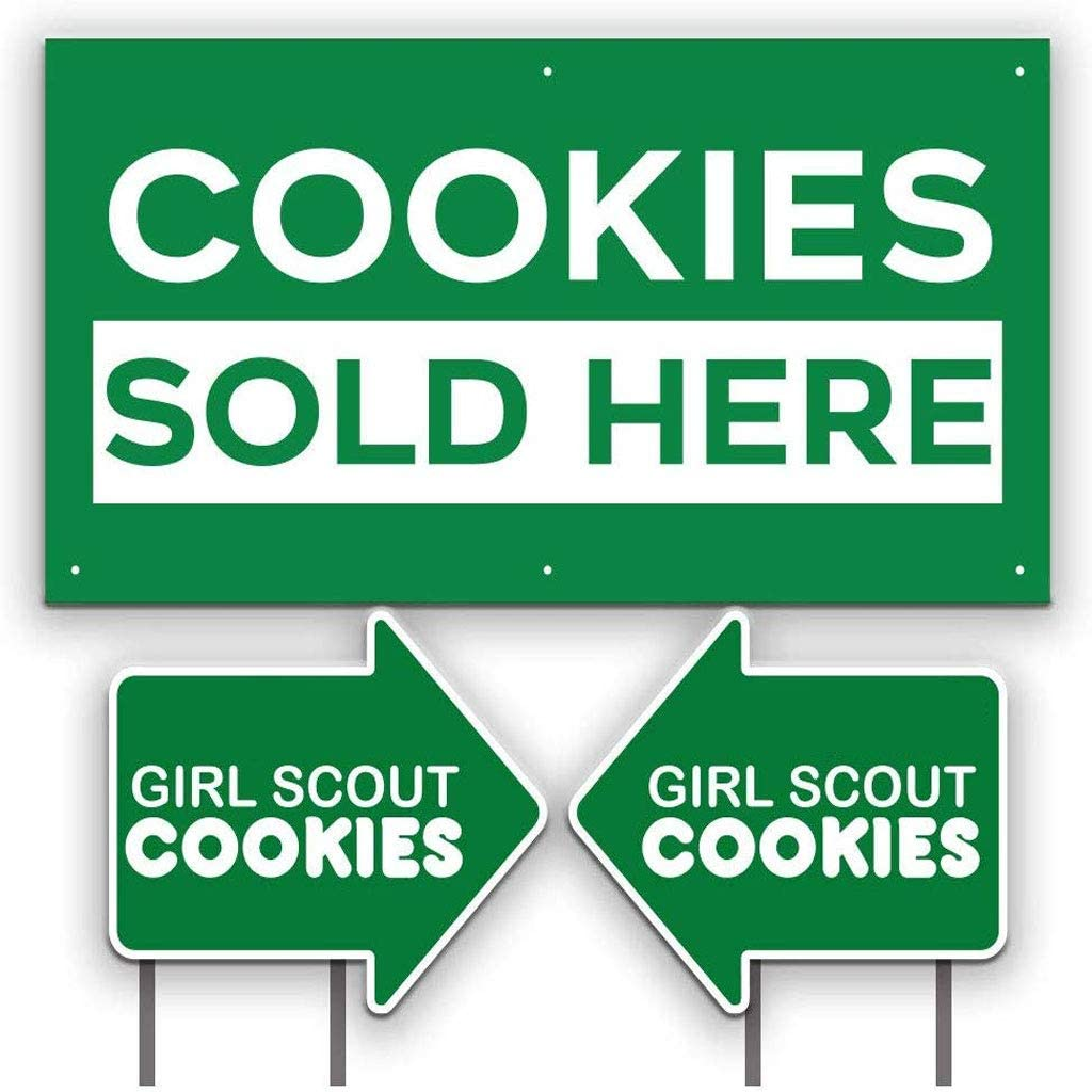 """Girl Scout Cookie Arrow Shaped Yard Signs Set//2-22/""""x18.7"""" Ships FREE!"""