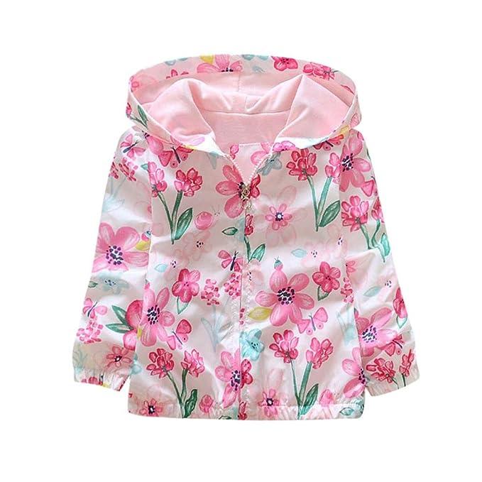 Yannerr Bebé niña camiseta tops Viento cremallera Abrigo sudadera con capucha Recién nacido manga larga blusa