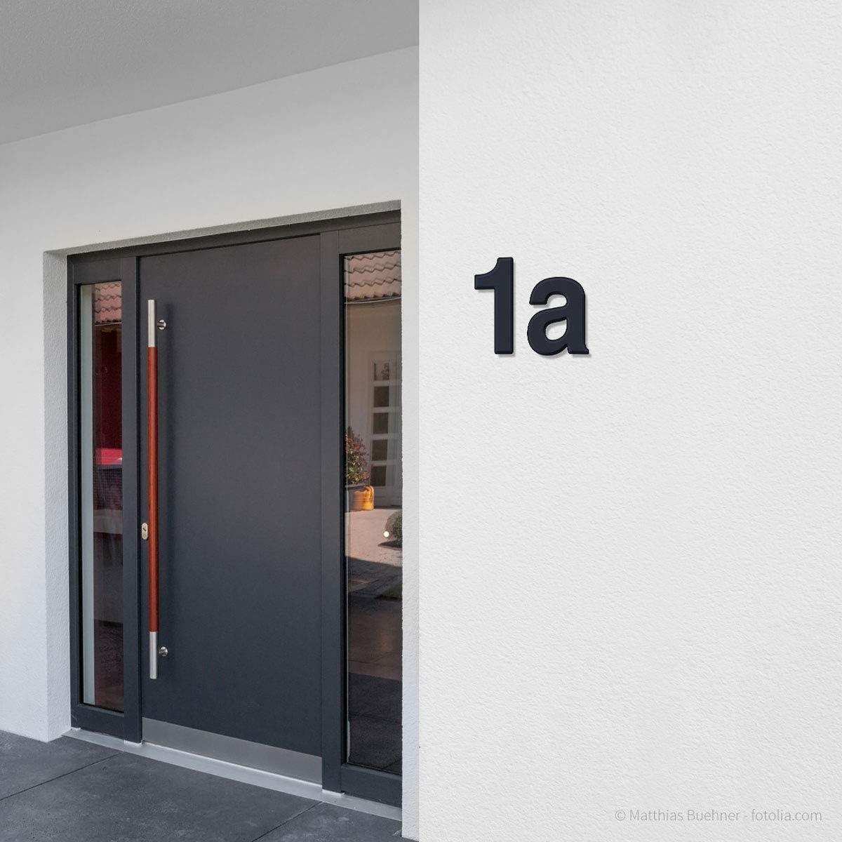 Thorwa /® design num/éro de maison en acier inoxydable avec rev/êtement a alunovo canal serre rAL 7016 anthracite