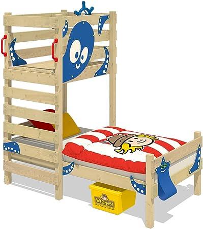 WICKEY Cama para jugar CrAzY Octopus Cama infantil 90 x 200 Cama individual de madera conjugar pedestal para niños y niñas con somier de madera, azul