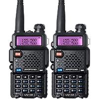 Baofeng UV-5R Talkie-walkie FM Radio VHF/UHF avec Double Bande Radio, Noir (2 pcs)
