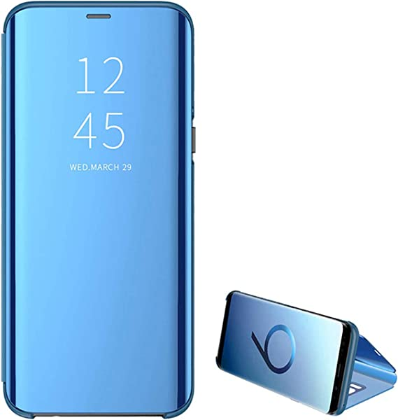 Case For Galaxy S8 For Samsung Galaxy S8plus Mobile Phone Protective Cases Mirror Clear View Stand Cover 360 Degree Shock Absorption Case Scratch Resistant Flip Slim For Samsung S8 Blue Bekleidung