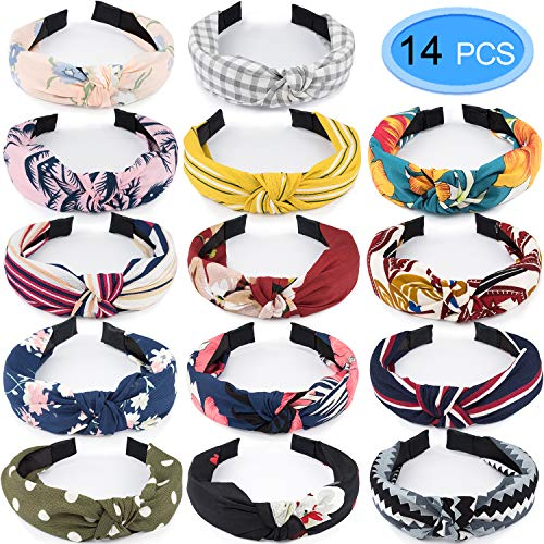 14 Pieces Knotted Headbands for Women, EAONE Knot Headband Floral Turban Headbands Cute Hair Band Accessories Yoga Head Wrap for Women Girls with 1 Pouch Bag, 14 Colors