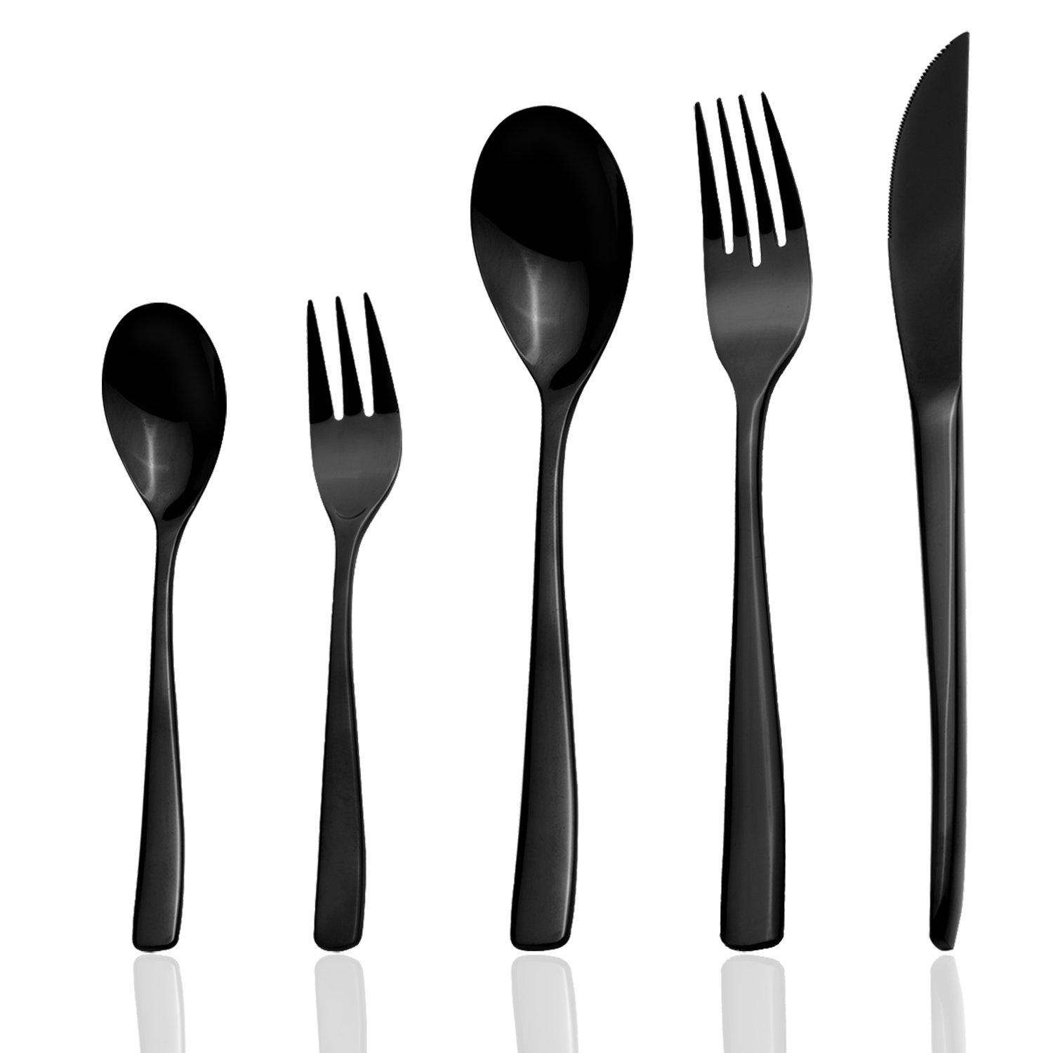Flatware Set, 20-Piece Silverware Set, Mazmayi Stainless Steel Home Kitchen Hotel Restaurant Tableware Cutlery Set, Service for 4, Mirror Finished, Dishwasher Safe (Mirror Finish Black)