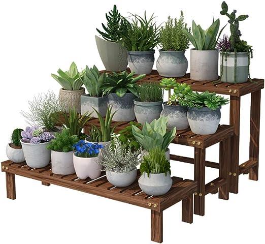 Qi Tai Puesto de flores Soporte para flores Banco de madera maciza Salón maceta Shoebox Estante de almacenamiento Balcón simple Escalera de madera Combinación de plantas verdes Estante de almacenamien: Amazon.es: Hogar