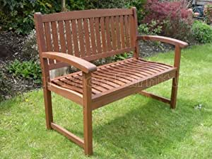 Henley Hardwood 2 Seat Garden Bench Great Outdoor Furniture For Your Garden or Patio