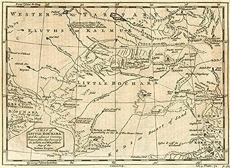 Map Of Asia Gobi Desert.Western China Central Asia Little Bochara Bukhara Gobi Desert