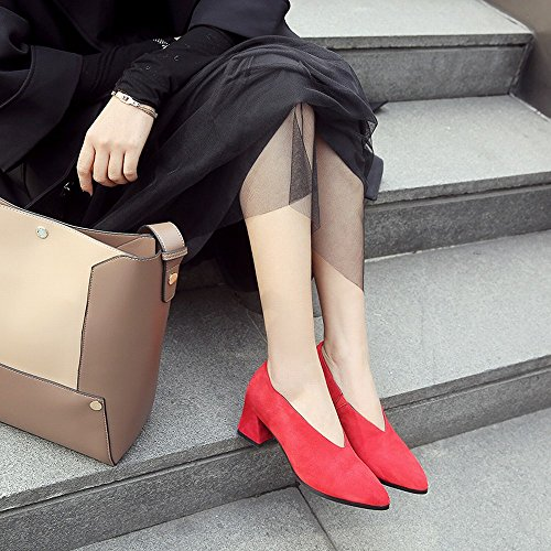 de Altos de de Perezosos DHG Mujeres con Ásperas 8 Los Talones 5cm Primavera Zapatos OL la Temprana Zapatos Los con Los Friegan Zapatos Las Los de 37 Primavera de Cuero la Rojo xwwq8vY7