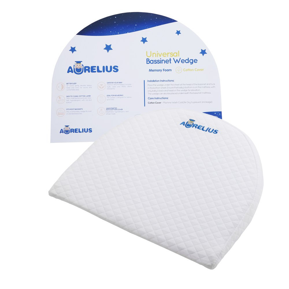 Aurelius Universal Bassinet Wedge for Baby Acid Reflux and Newborn Nasal Congestion Reducer | Baby Reflux Wedge Pillow for Better Night Sleeping by Aurelius