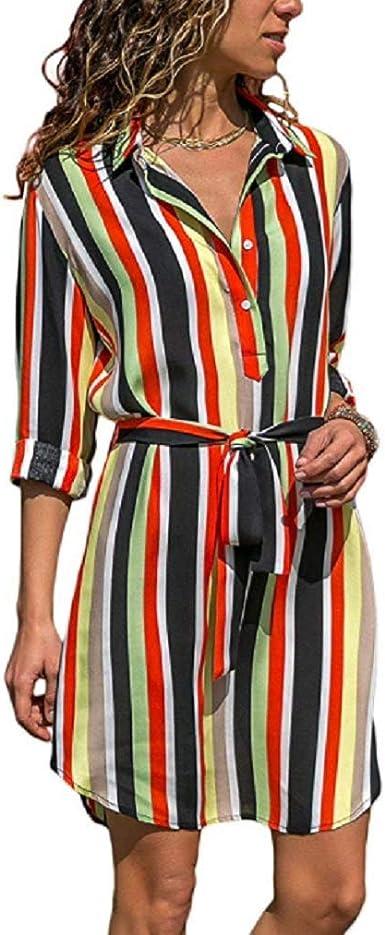 Vestido de Camisa con Cuello en V con Estampado de Textura ...