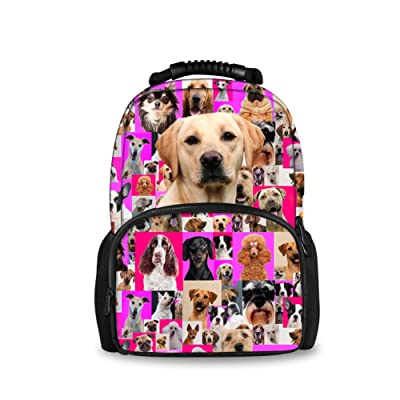 CHAQLIN Cute 3D Pet Dog Puzzle Children School Book Bag Pink Kids Backpacks