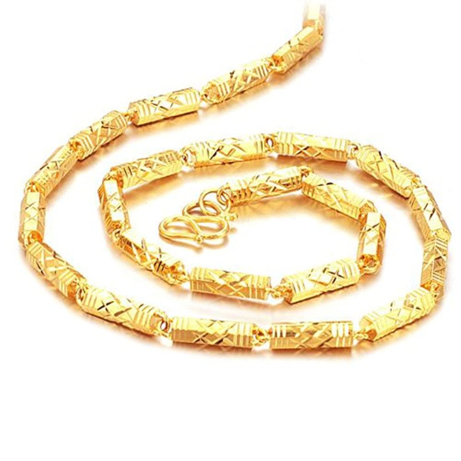 Opk Jewelry Luxury Mens Bamboo Link Necklace 18k Yellow Gold Plated