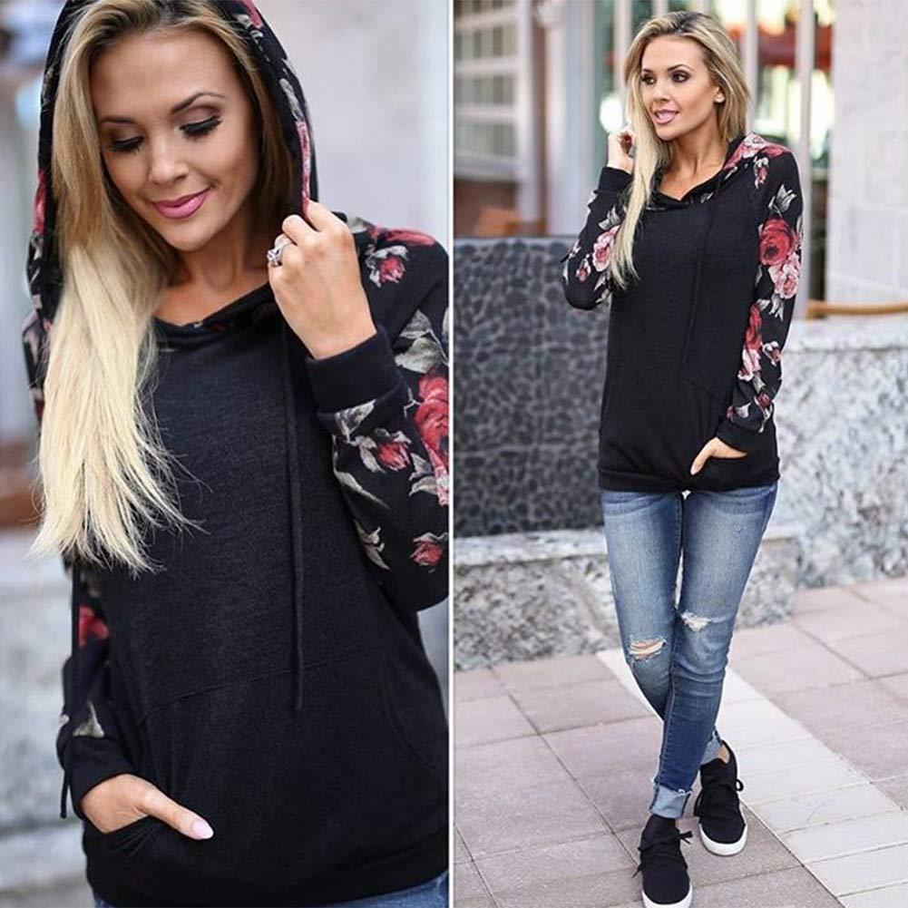 NEWCOSPLAY Women Hoodies-Tops Floral Printed Long Sleeve Drawstring Sweatshirt with Pocket
