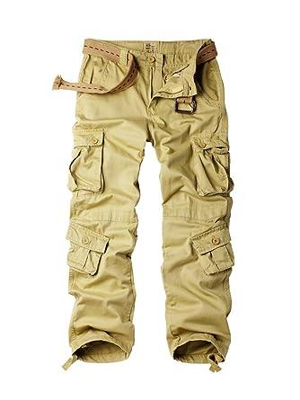 37a5b20ef1c484 OCHENTA Men's Cotton 8 Pockets Casual Military Work Cargo Pant #3357 Khaki  29