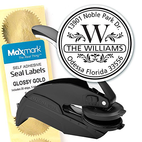 (Custom Monogram Address Embosser - Personalized Round Seal with 50 Seal labels - Style EM004)