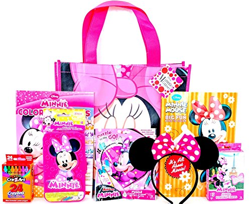 Minnie Mouse Coloring & Activity Gift Set with Reusable Minnie Mouse Tote Bag, Minnie Mouse Ears, Minnie Mouse Colors & Shapes Educational Workbook, Sticker Activity Kit & (Gift Tote Gift Set)