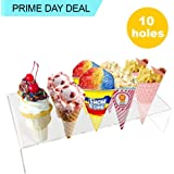 Ice Cone Holder | Amazing Transparent Lightweight Portable 10 Hole Ice Cream Cone Stand Display | Safe Durable Washable Food Grade BPA-Free Acrylic Material | 573.3