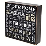 In Our Home We Do Second Chances wedding anniversary gift for couple, housewarming gift ideas for Mr. and Mrs. shadow box by LifeSong Milestones 6''x6'' (Be strong) (In our home)