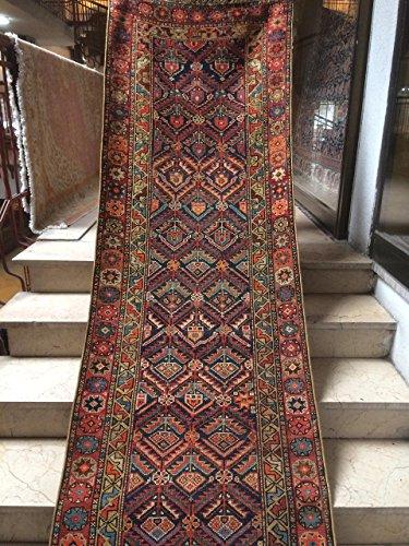 2.8x12.6 Feet Ethnic Handmade Orange And Dark Blue Rug Runner Vintage Rug Runner Narrow Old Rug Runner Code:P631