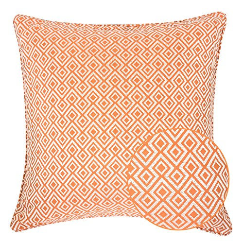 Homey Cozy Jacquard Cotton Throw Pillow Cover,Orange Diamond Modern Silk Plaid Textured Sofa Couch Decorative Pillow Case 20x20,Cover (Orange Silk Accent Pillow)