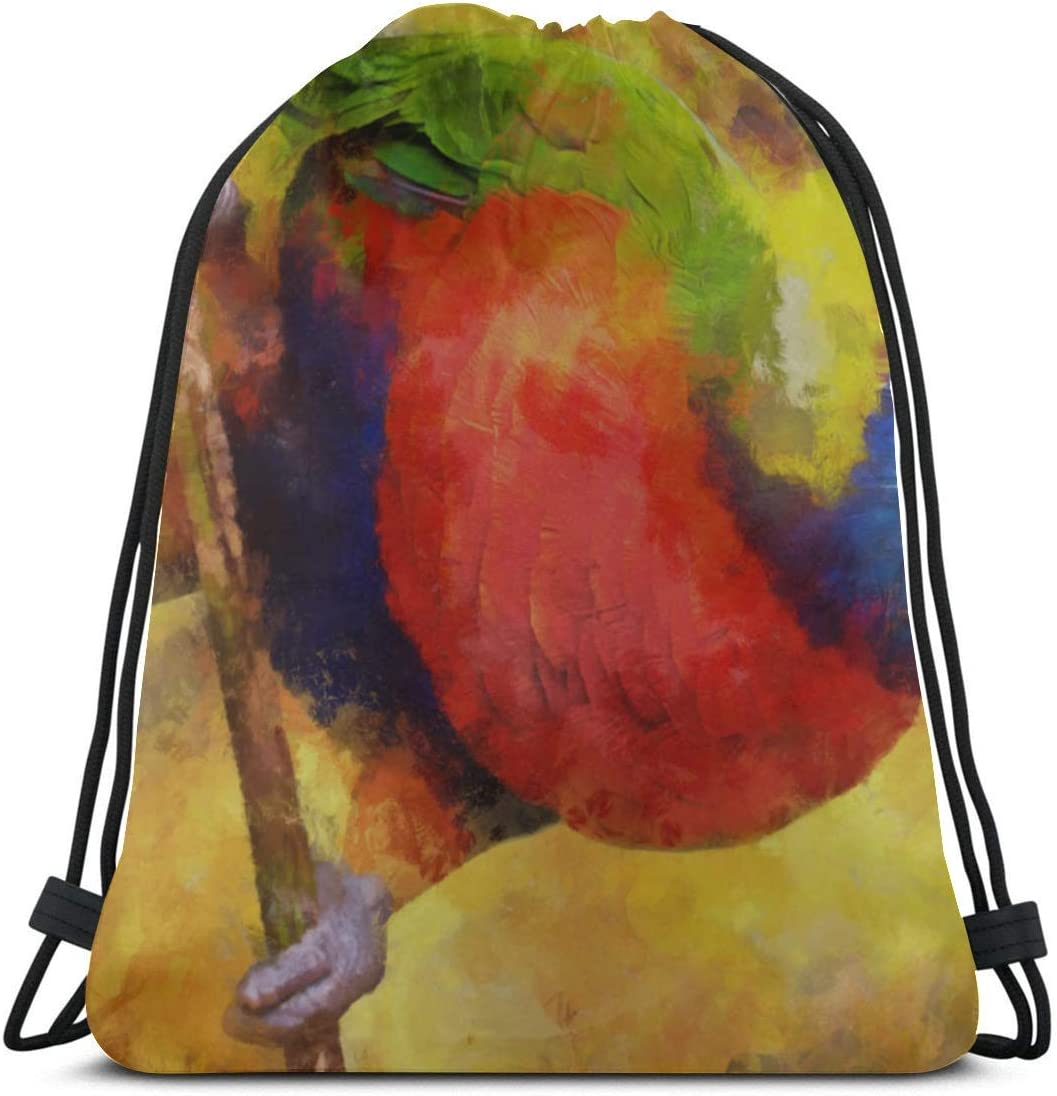 Unisex Single-sided Printing Smart Cute Bird Parrot Oil Painting Girly Drawstring Bag Polyester Drawstring Beach Bag Drawstring Gym Bag For Girls For Gym Outdoor Travel
