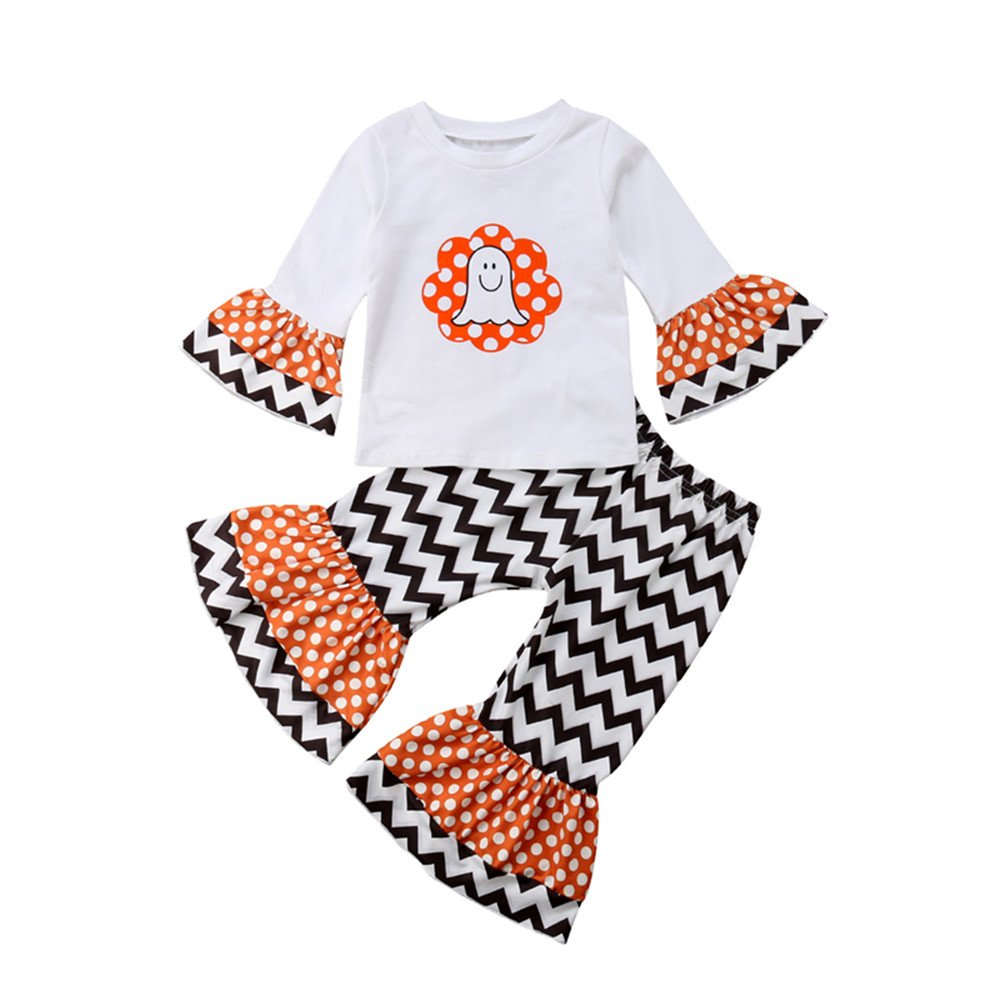 Toddler Baby Girls Halloween Outfit,Long Sleeve Ghost Tops T Shirt+Flare Wave Pants Fall Clothing Set 2Pcs Winagainer
