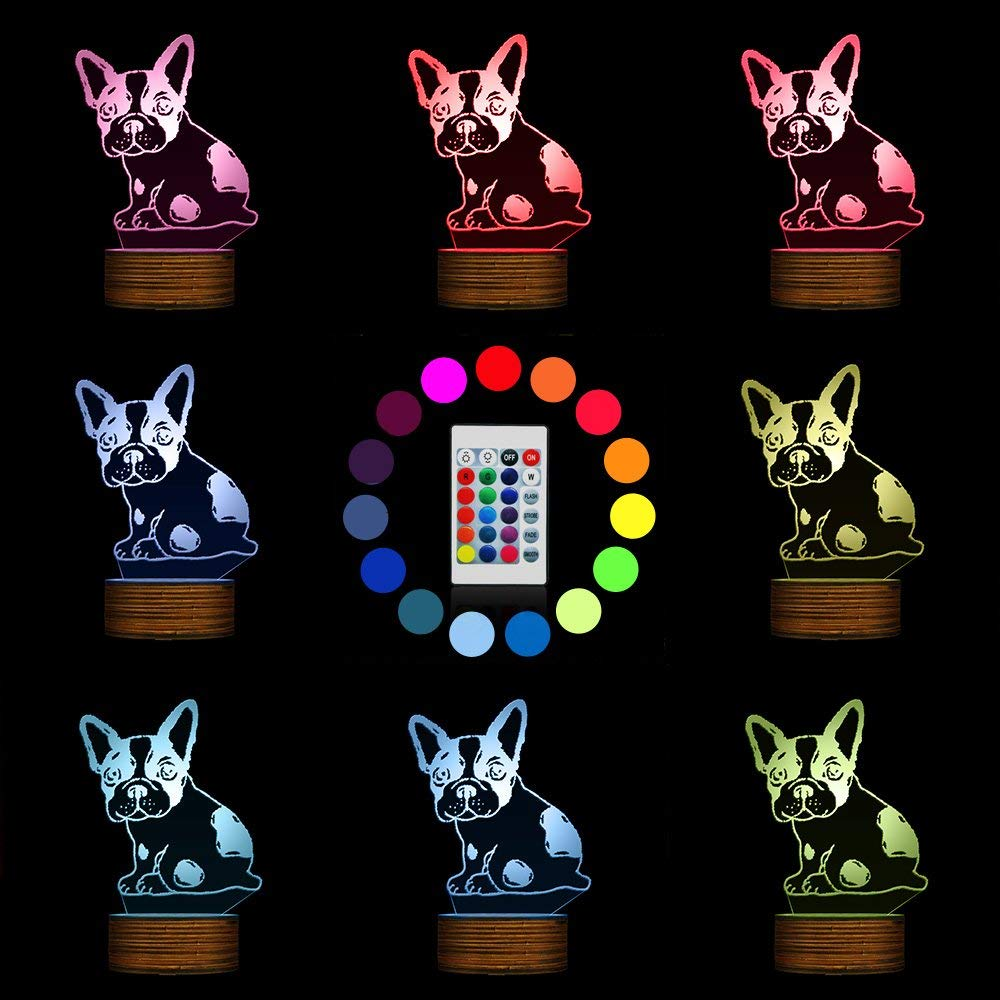Novelty Lamp, Optical Illusion 3D LED Lamp Night Light French Bulldog, USB Powered Remote Control Changes The Color of The Light, Bedroom Table Lamp, Children's Gift, Home Decoration,Ambient Light by LIX-XYD (Image #9)