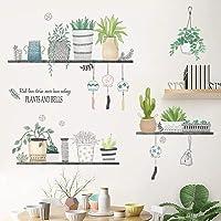 WandSticker4U® - XL muursticker planten rek I wandafbeeldingen: 106 x 89 cm I wandtattoo keuken bloempot grassen…