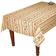 """60x120"""" Rectangular Fayence Cream Cotton Coated Provence Tablecloth by Le Cluny"""