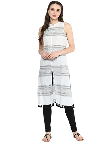 579be0c5243 Amazon.com  Jaipur Kurti Women Indian Casual Tunic Top Solid Straight Crepe  White Kurta  Clothing