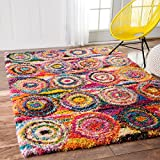 "colorful area rugs nuLOOM OZXL02A Kindra Circlesgy Shag Rug, 5' 3"" x 7' 6"", Multi"