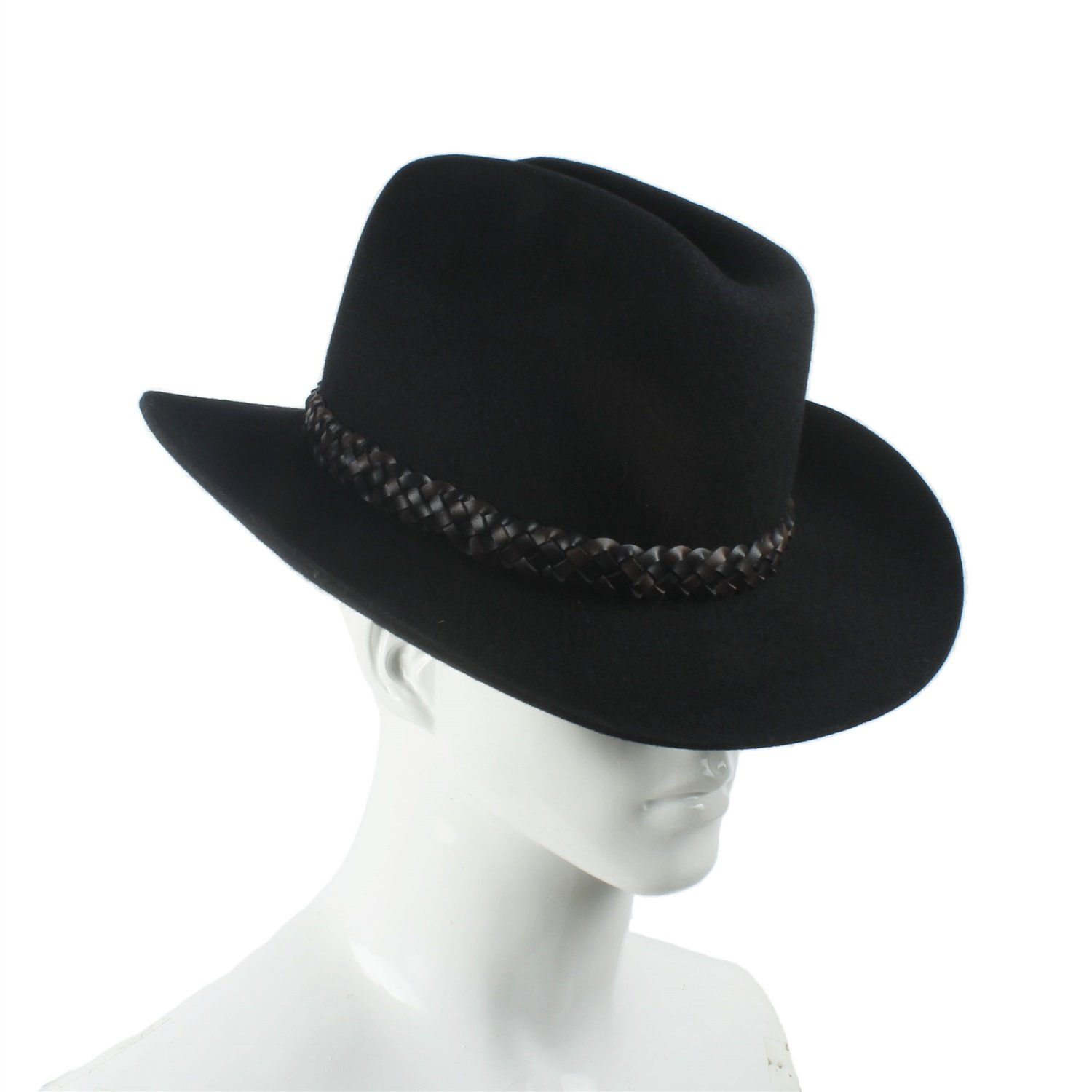 3e9089695765f LL Women's Black Cowboy Hat 100% Wool Felt Women's Small Cassidy Crown  Country Western Wear Outback Style (Color : Black, Size : 57-58CM)