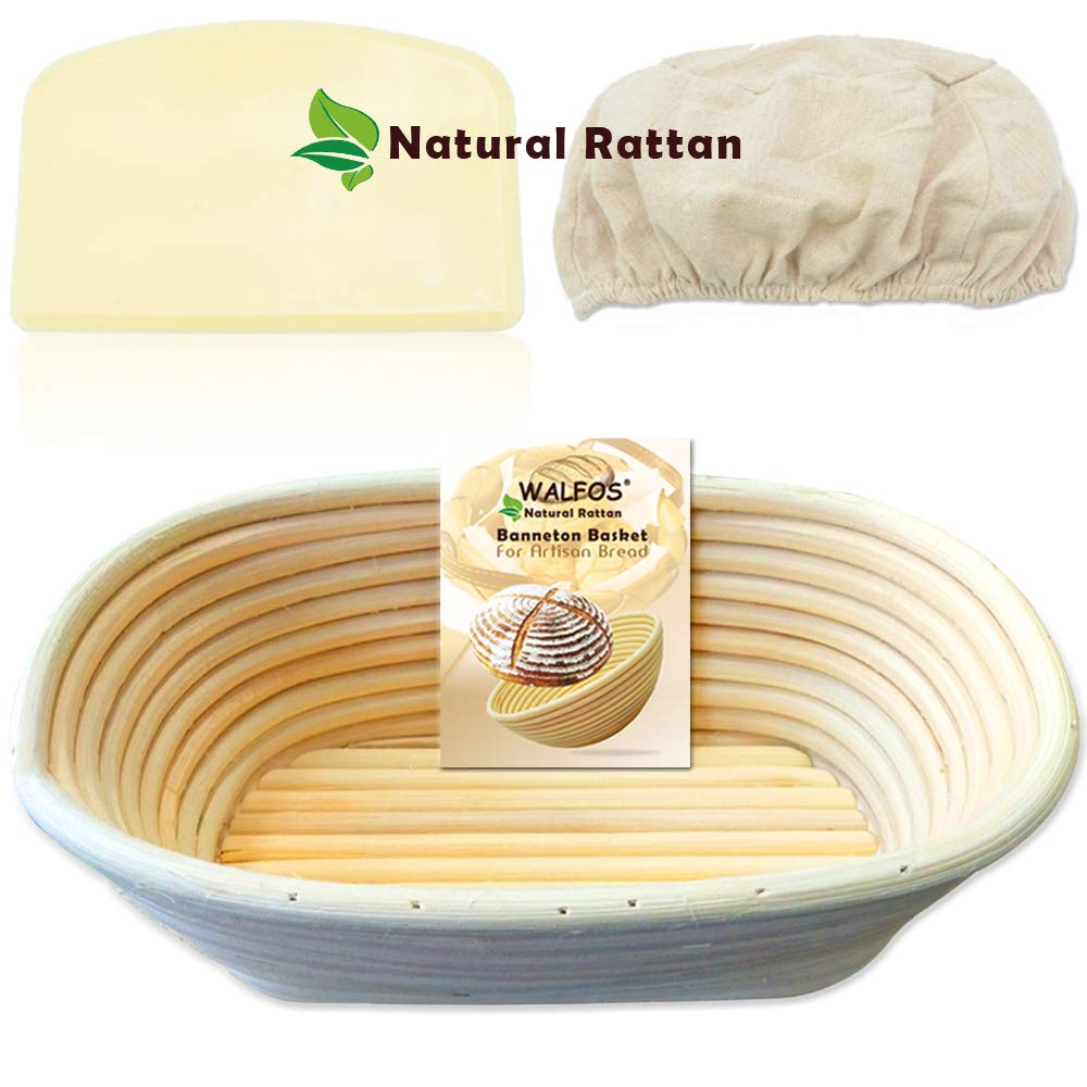 WALFOS 10 Inch Oval Banneton Bread Proofing Basket Set - French Style Artisan Sourdough Bread Bakery Basket,Dough Scraper/Cutter & Brotform Cloth Liner Included - 100% NATURAL RATTAN