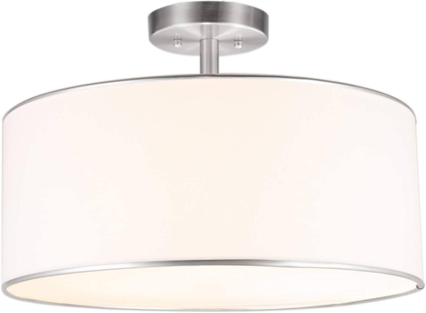 Amazon Com Co Z Drum Light 18 Brushed Nickel 3 Light Drum Chandelier Semi Flush Mount Contemporary Ceiling Lighting Fixture With Diffused Shade For Kitchen Hallway Dining Room Table Bedroom Bathroom Home Improvement