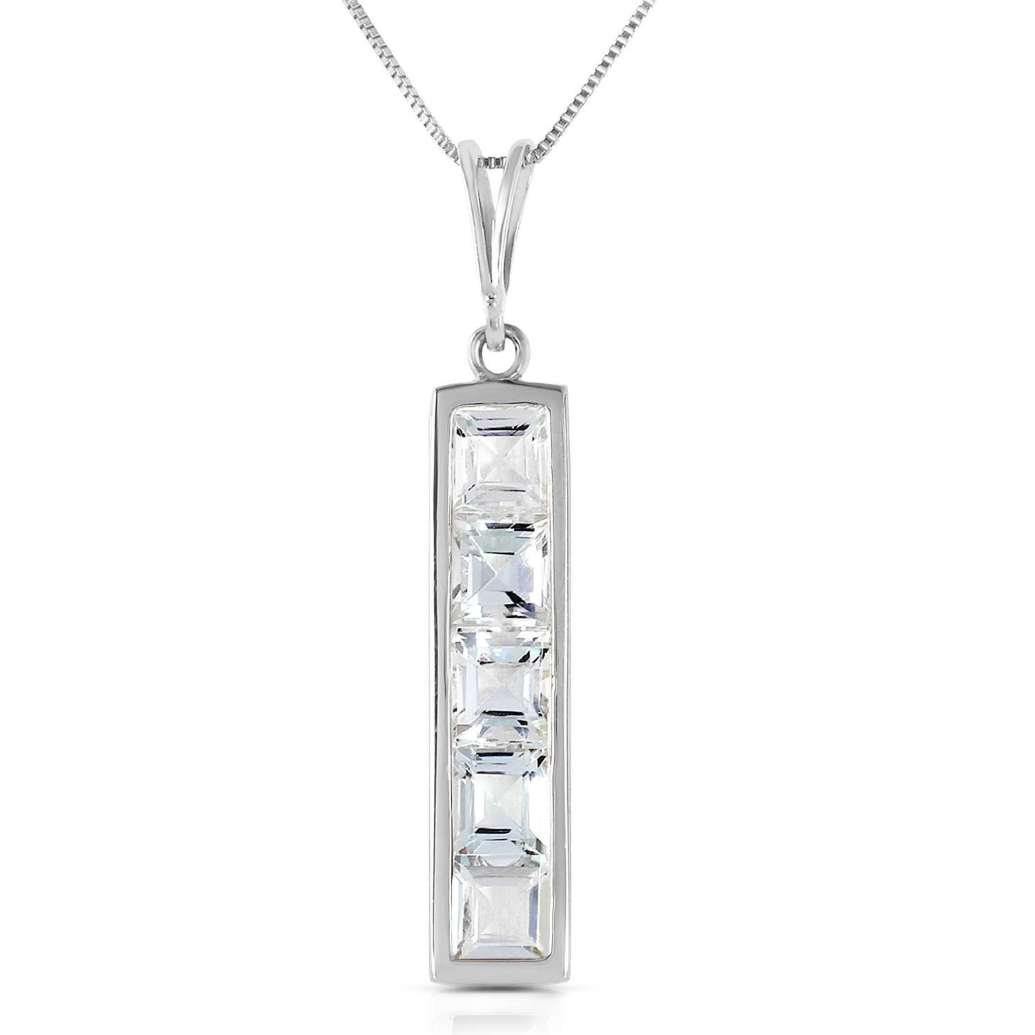 ALARRI 2.25 Carat 14K Solid White Gold Labor Of Love Aquamarine Necklace with 22 Inch Chain Length