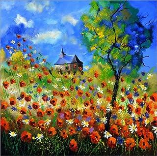Stampa su PVC 120 x 120 cm: Poppy Field with Church di Pol Ledent