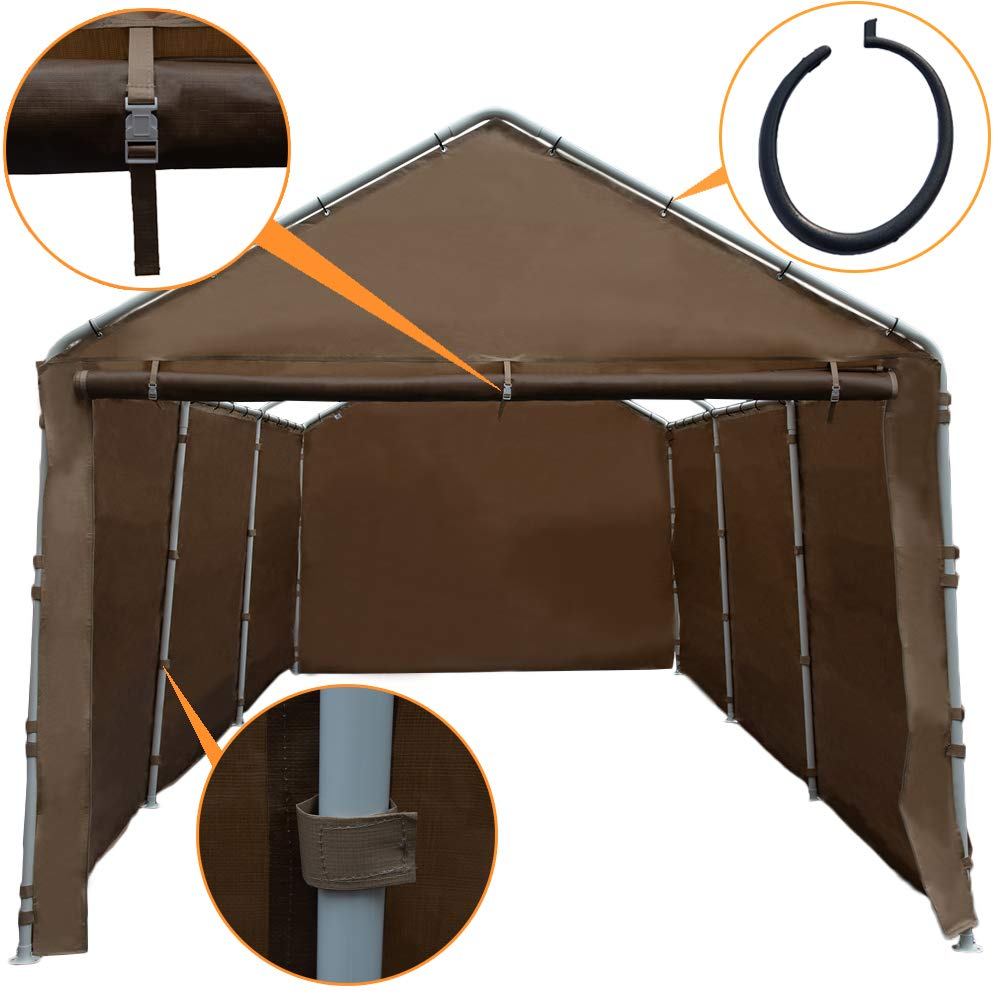 Beige Abba Patio Replacement Canopy Cover For 10 X 20 Feet Carport 8 Legs Carport Shelter With Rings Frame Top Cover Not Included Outdoor Storage Patio Lawn Garden Swl13562 Nl